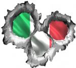 Bullet Hole Torn Metal 3 Shots With Italy Italian Flag Car Sticker 95x85mm